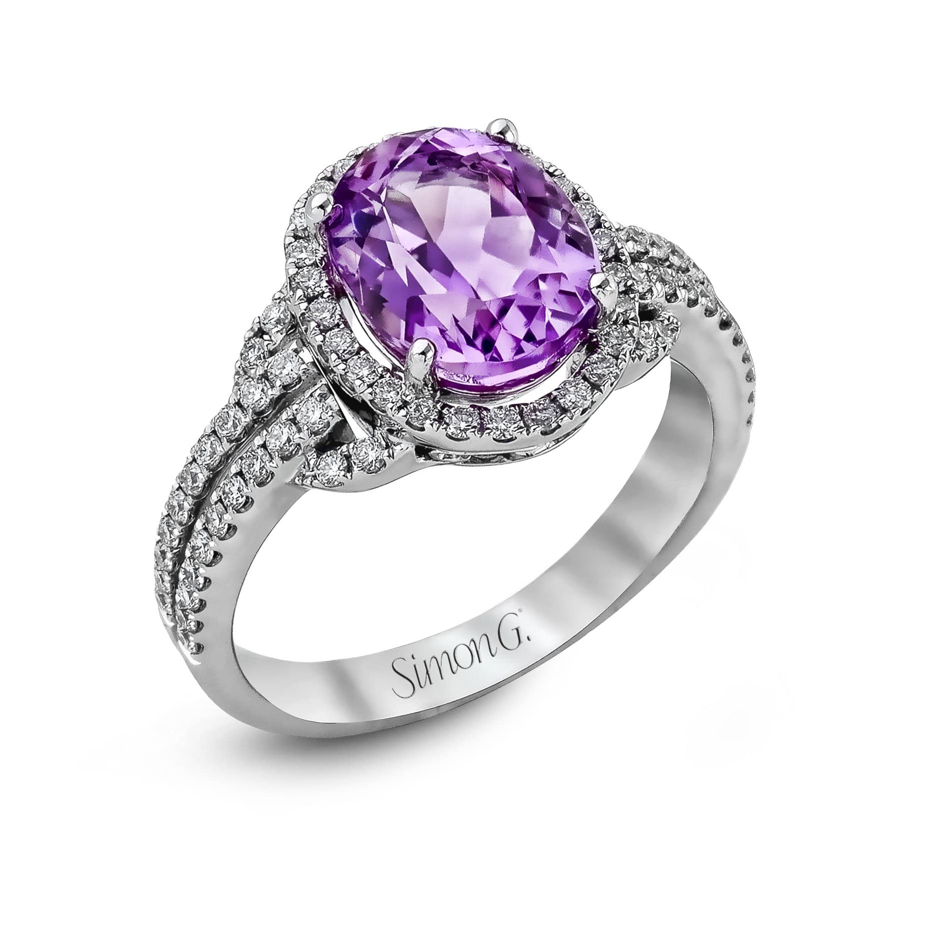 18K White Gold Kunzite Ring - TR288-W