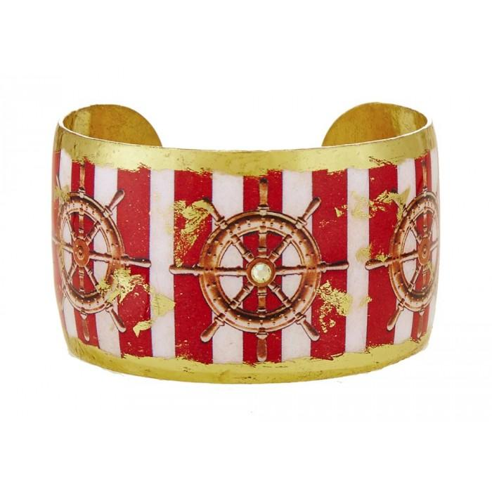 Ship's Wheel Red Stripe Cuff - VO1019-Evocateur-Renee Taylor Gallery