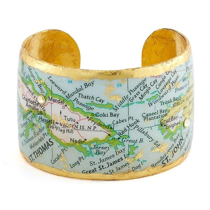 St Thomas / St John Map Cuff - VO1041-Evocateur-Renee Taylor Gallery