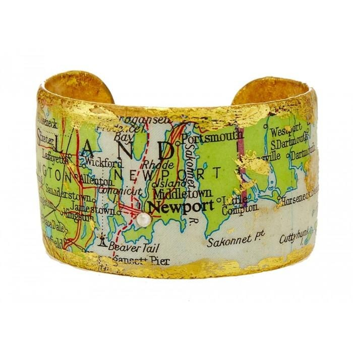Newport, RI Map Cuff - VO145-Evocateur-Renee Taylor Gallery