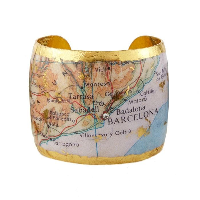 Barcelona Map Cuff - VO197-Evocateur-Renee Taylor Gallery