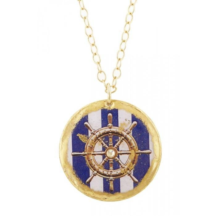 Ship's Wheel Blue Stripe Pendant - VO277-Evocateur-Renee Taylor Gallery
