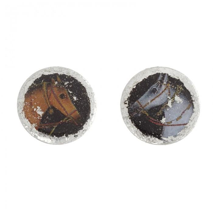 Raj Horse Silver Stud Earrings - VO4004-Evocateur-Renee Taylor Gallery