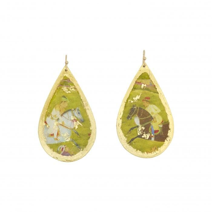 Indian Polo Teardrop Earrings - VO474-Evocateur-Renee Taylor Gallery