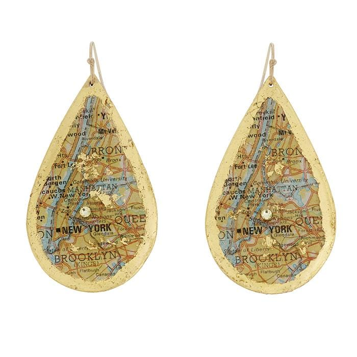 New York City Map Teardrop Earrings - VO475-Evocateur-Renee Taylor Gallery