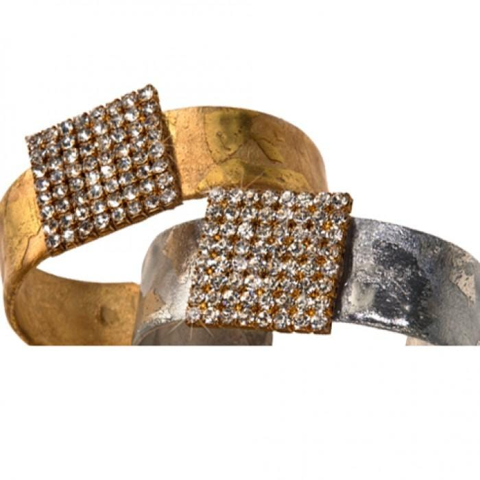 Crystal Tile Gold Cuff - VV1386-Evocateur-Renee Taylor Gallery