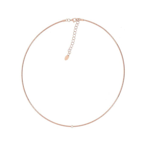 DNA Single Strand Spring with 1 Diamond Station Rose Gold Necklace - WDNAG198-Pesavento-Renee Taylor Gallery
