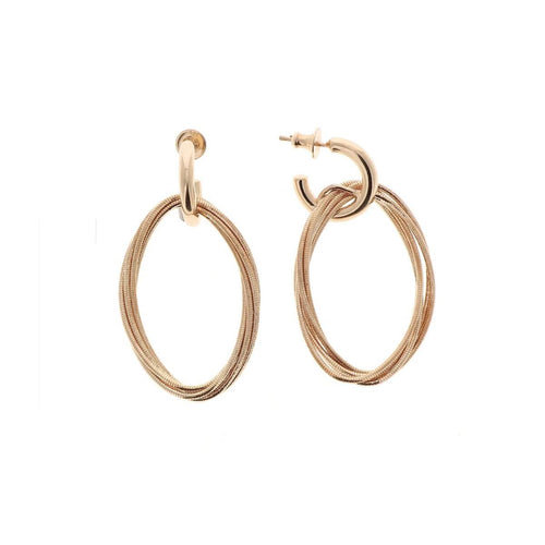 DNA Spring Small Oval Rose Gold Rosa Cipria Earrings - WDNAO114-Pesavento-Renee Taylor Gallery