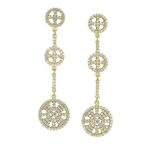 Gold Vermeil Finish Sterling Silver Micropave Three Circle Drop Earrings - BL2261EG-Kelly Waters-Renee Taylor Gallery