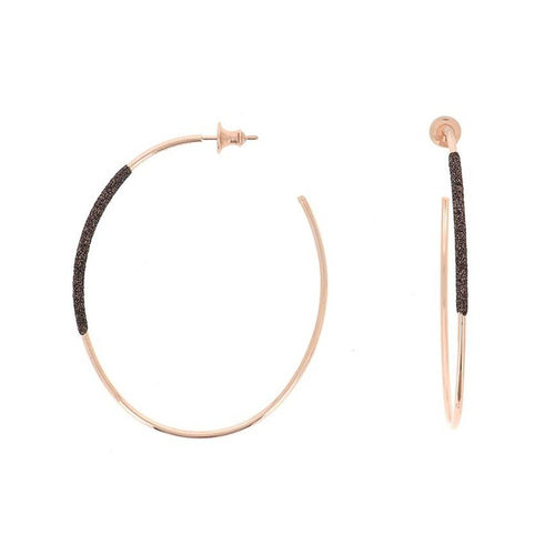 Thin Oval Rose Gold Dark Brown Polvere Earrings - WPLVO1140-Pesavento-Renee Taylor Gallery