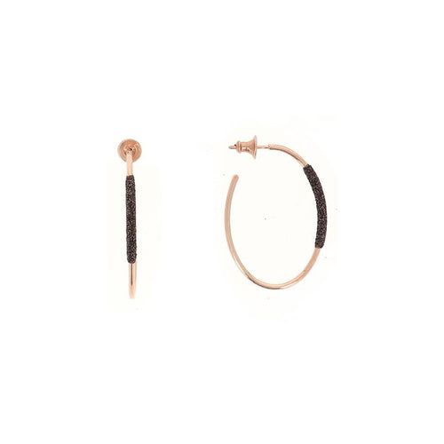 Thin Small Oval Hoop Rose Gold Dark Brown Polvere Earrings - WPLVO1148-Pesavento-Renee Taylor Gallery