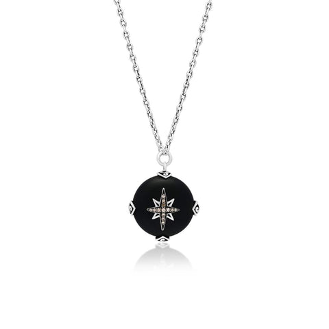 Sterling Silver Brown Diamond & Black Onyx Round Pendant Necklace - XNU1004-16D36-Lois Hill-Renee Taylor Gallery