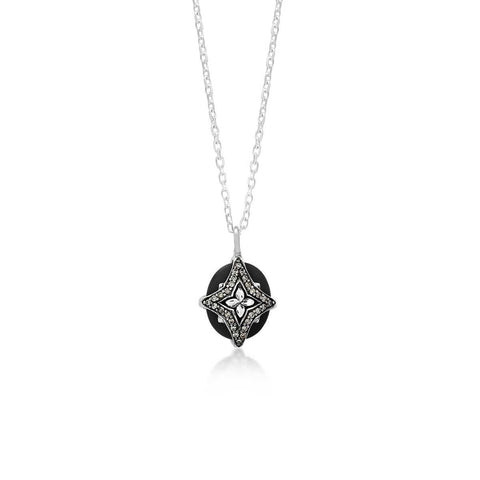 Sterling Silver Brown Diamond & Black Onyx Cross Pendant Necklace - XNU1242-18D27-Lois Hill-Renee Taylor Gallery