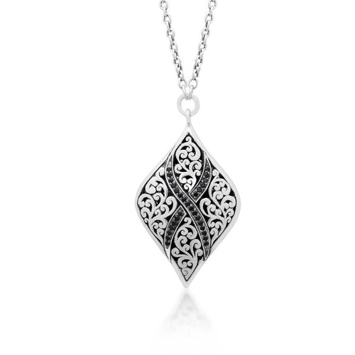 Sterling Silver Black Sapphire Pendant Necklace - XNU288-16BS5-Lois Hill-Renee Taylor Gallery