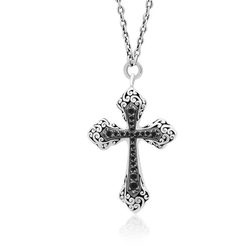 Sterling Silver Black Sapphire Cross Pendant Necklace - XNU290-16BS5-Lois Hill-Renee Taylor Gallery