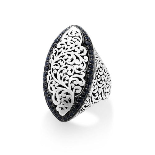 Sterling Silver Black Sapphire Classic Signature Scroll Marquise Ring - XRU269-80BS5-Lois Hill-Renee Taylor Gallery