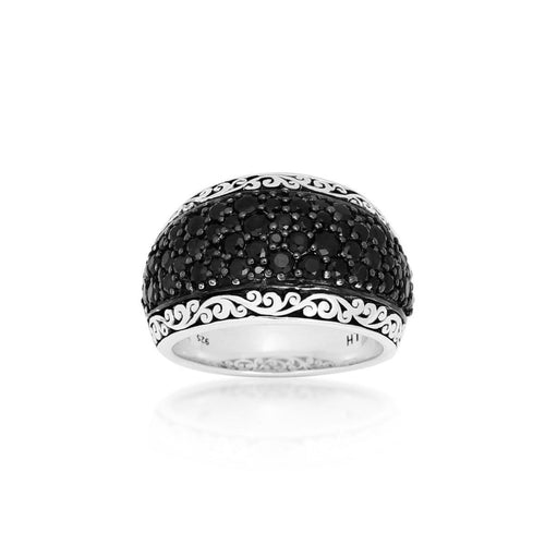 Sterling Silver Black Sapphire Pave Dome Ring - XRU270-Lois Hill-Renee Taylor Gallery