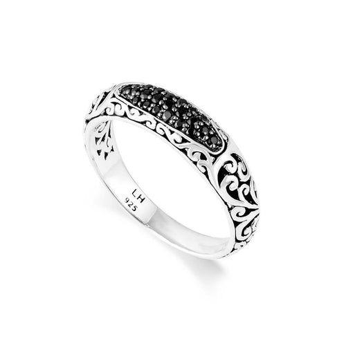 Sterling Silver Black Sapphire Classic Signature Scroll Slim Band Ring - XRU271-80BS5-Lois Hill-Renee Taylor Gallery