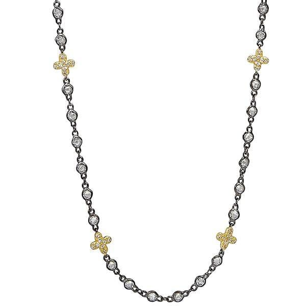 Signature Clover Stone Necklace - YZ070176B-40-Freida Rothman-Renee Taylor Gallery