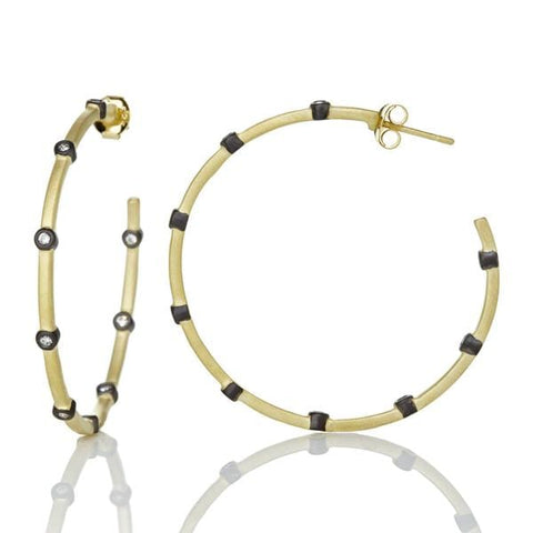 Signature Thin Bezel Station Hoop Earrings - YRZE020015B-14K-Freida Rothman-Renee Taylor Gallery