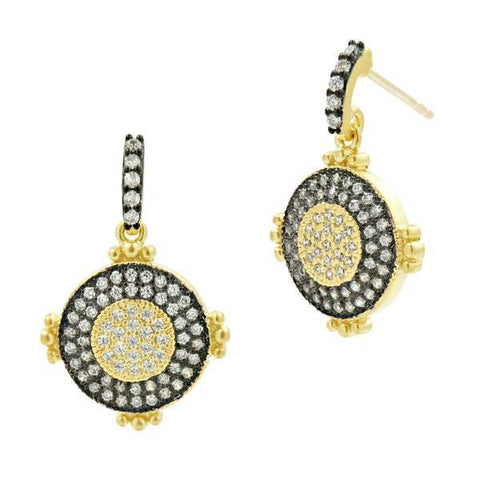 Signature Perfect Pavé Dangle Earring - YRZE020364B-14K-Freida Rothman-Renee Taylor Gallery