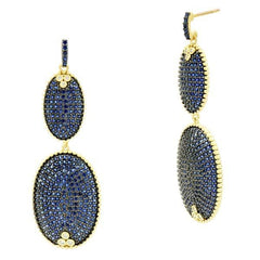 Midnight Pavé Double Drop Earring - YRZE020403B-BL-14K-Freida Rothman-Renee Taylor Gallery
