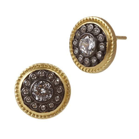 Signature Nautical Button Stud Earrings - YRZE0216B-14K-Freida Rothman-Renee Taylor Gallery