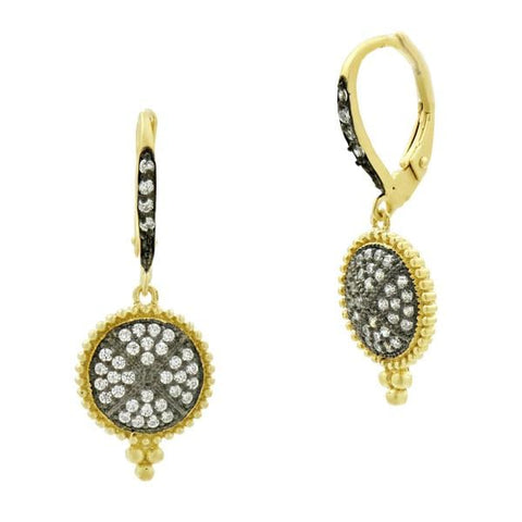 Signature Pavé Disc Lever Back Earrings - YRZEL020366B-Freida Rothman-Renee Taylor Gallery