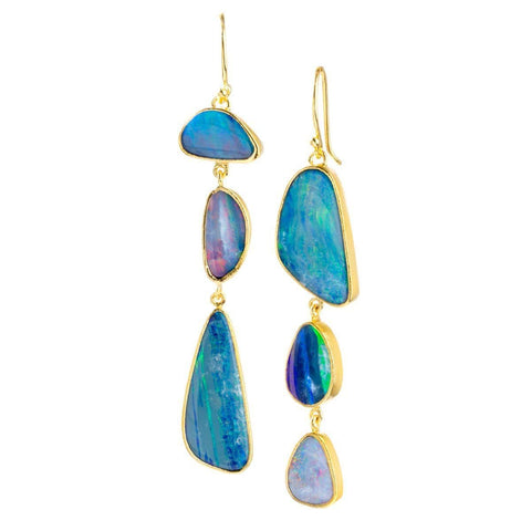 Aphrodite 22k Gold Plated with Opal Earrings - G8004E-OPL-Nina Nguyen-Renee Taylor Gallery