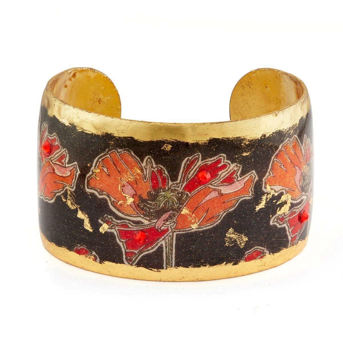 "Art Deco Poppies 1.5"" Gold Cuff - MU153-Evocateur-Renee Taylor Gallery"