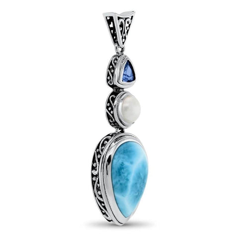Azure Pear Blue Topaz & Pearl Necklace - Nazur0P-00-Marahlago Larimar-Renee Taylor Gallery