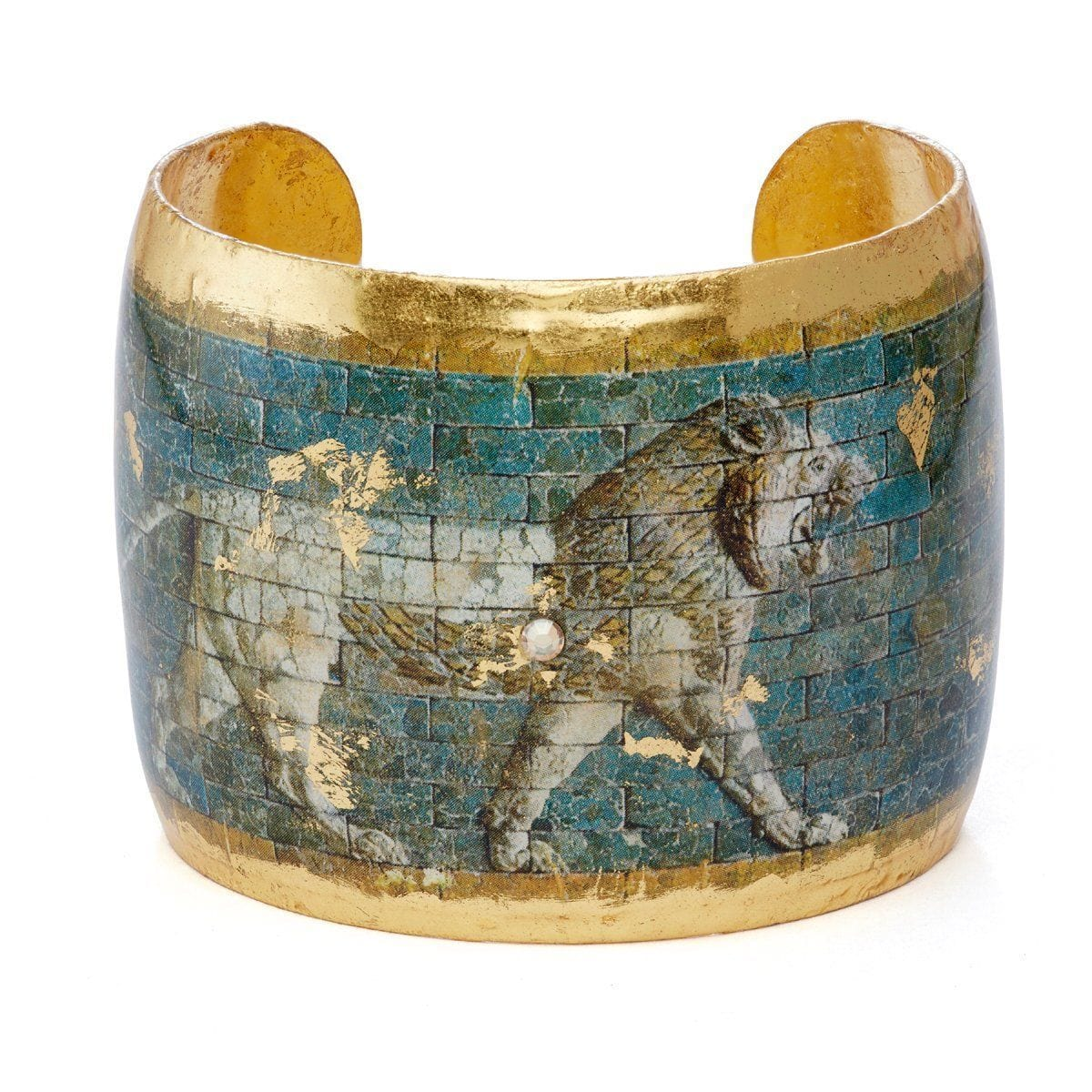 "Babylonian Lion 2"" Gold Cuff - AC1012-Evocateur-Renee Taylor Gallery"