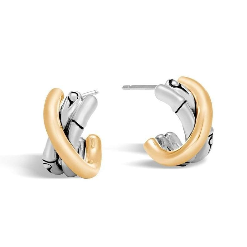 Bamboo 18k Gold & Silver J Hoop Earrings - EZ5937 - John Hardy