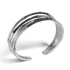 Bamboo Silver & Black Sapphire Cuff - CBS57674BLS-John Hardy-Renee Taylor Gallery