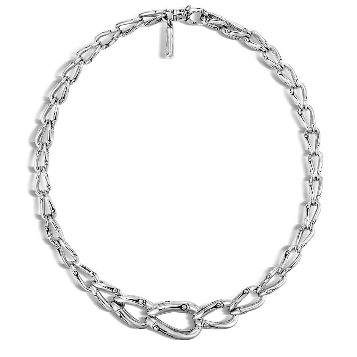 Bamboo Silver Link Necklace - NB5805