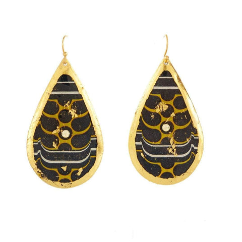 Barcelona Gold Teardrop Earrings - VO470-Evocateur-Renee Taylor Gallery
