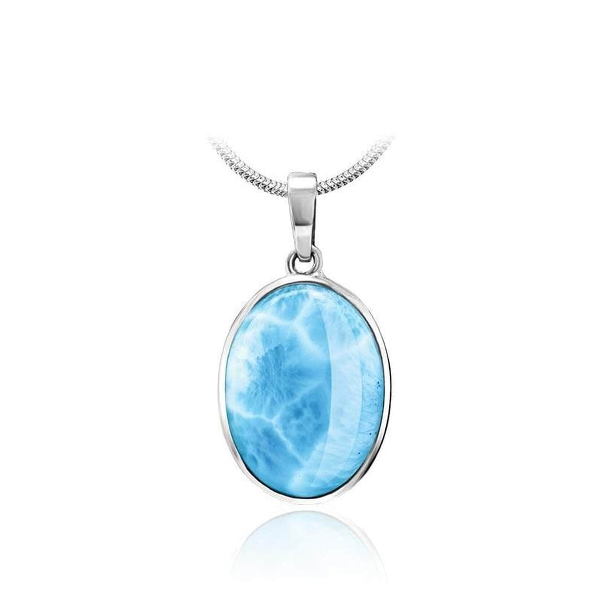 Basic Oval Necklace - Nbasi00-00-Marahlago Larimar-Renee Taylor Gallery