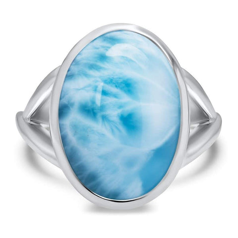 Basic Oval Ring - Rbasi00-00-Marahlago Larimar-Renee Taylor Gallery