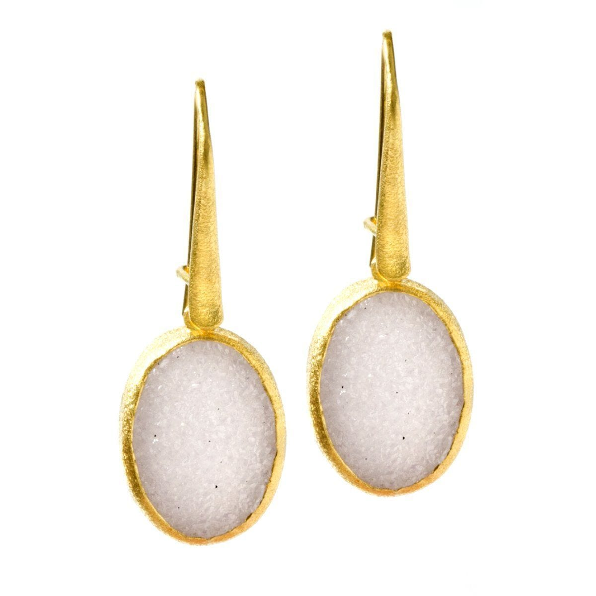 Bella 22k Gold Plated with White Druzy Earrings - G2002E-WHT-Nina Nguyen-Renee Taylor Gallery