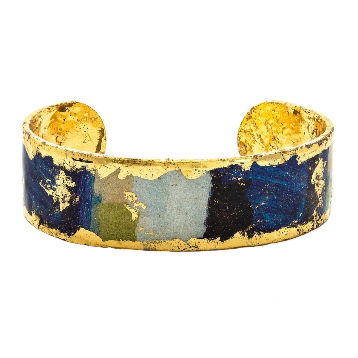 "Berlin Blue .75"" Gold Cuff - VO155-B-Evocateur-Renee Taylor Gallery"