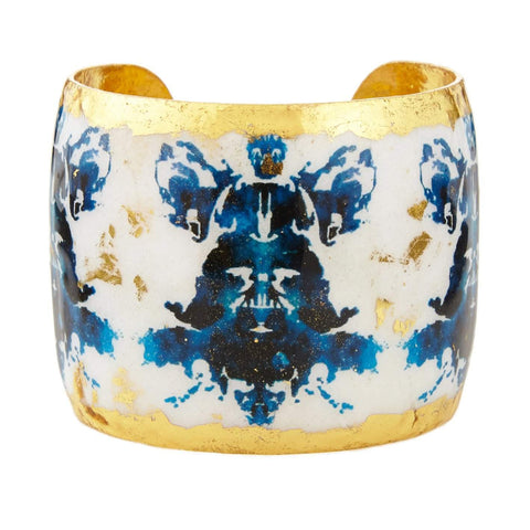 "Black & Blue Rorschach 2"" Gold Cuff - BW134-Evocateur-Renee Taylor Gallery"