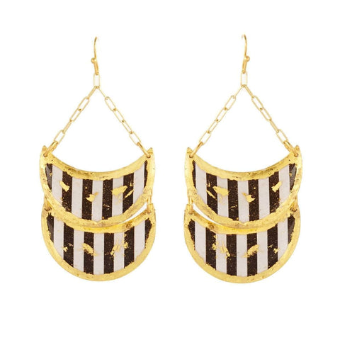 Black & White Double Cresent Gold Earrings - BW415-Evocateur-Renee Taylor Gallery