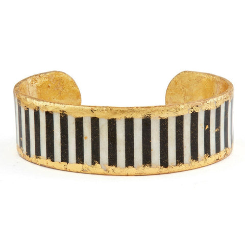 "Black & White Stripes .75"" Gold Cuff - BW111-Evocateur-Renee Taylor Gallery"