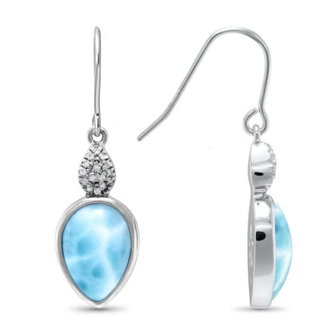 Bliss Pear White Sapphire Earrings - Eblis0P-00-Marahlago Larimar-Renee Taylor Gallery