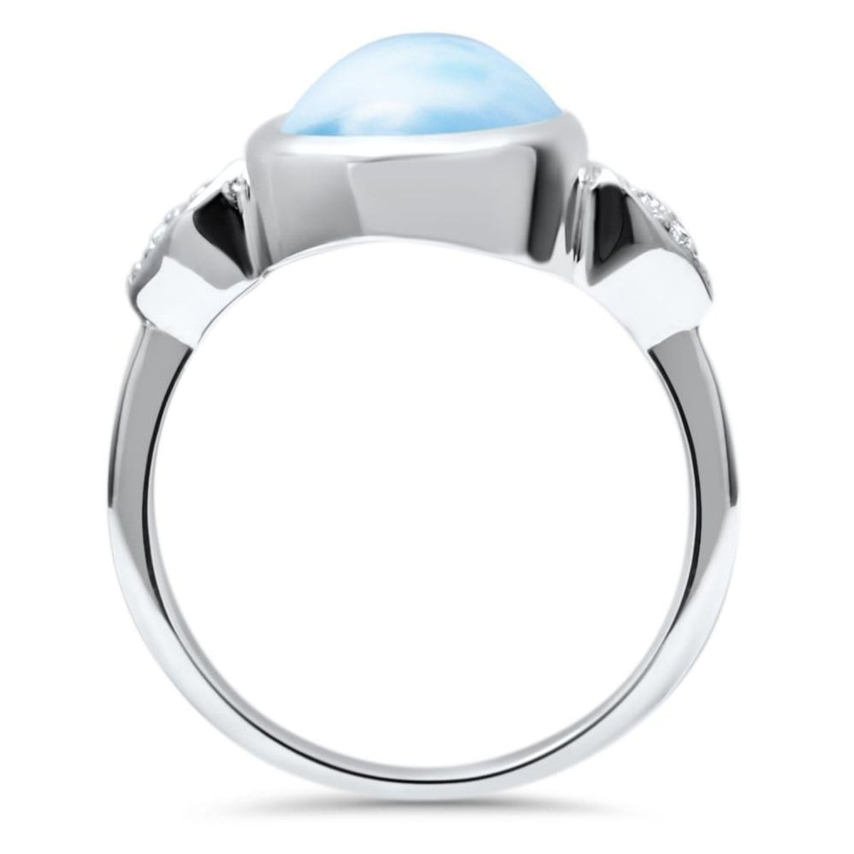 Bliss Pear White Sapphire Ring - Rblis0P-00-Marahlago Larimar-Renee Taylor Gallery
