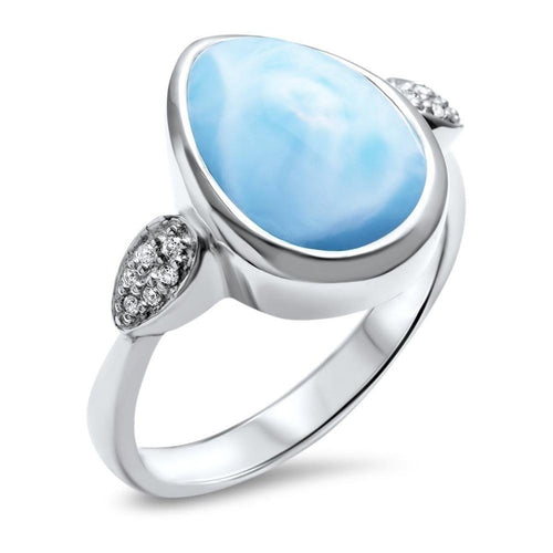 Bliss Pear Ring - Rblis0P-00-Marahlago Larimar-Renee Taylor Gallery
