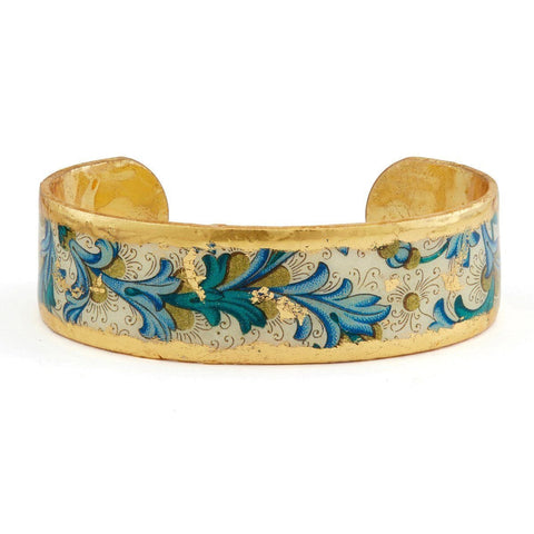 "Blue Firenze Cuff .75"" Gold Cuff - AC112B-Evocateur-Renee Taylor Gallery"