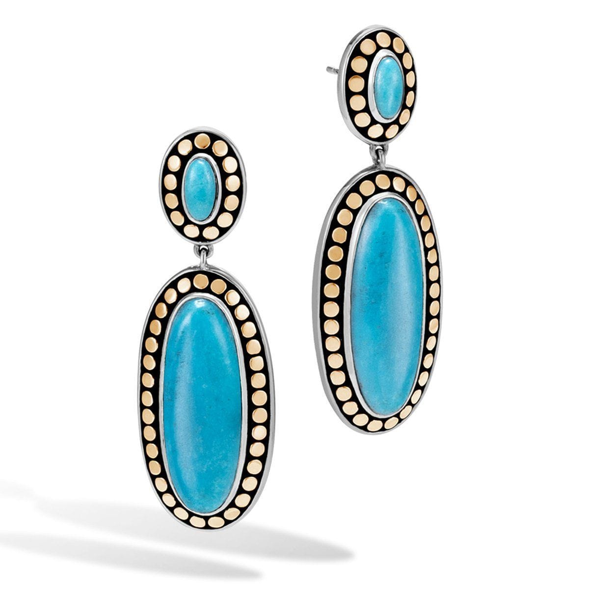 Dot Bonded Gold & Turquoise Drop Earrings - EZS390131TQ