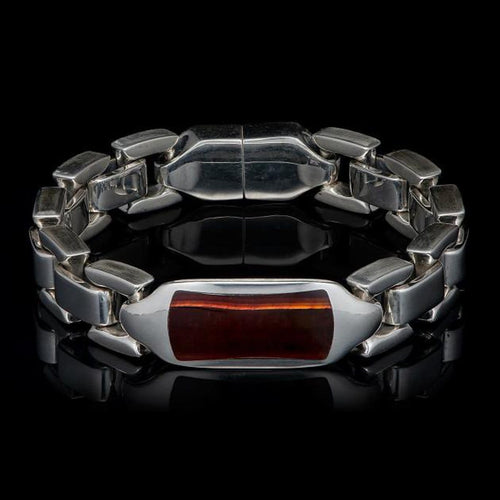 Men's Red Tiger Eye Identity Bracelet - BR24 RTE-William Henry-Renee Taylor Gallery