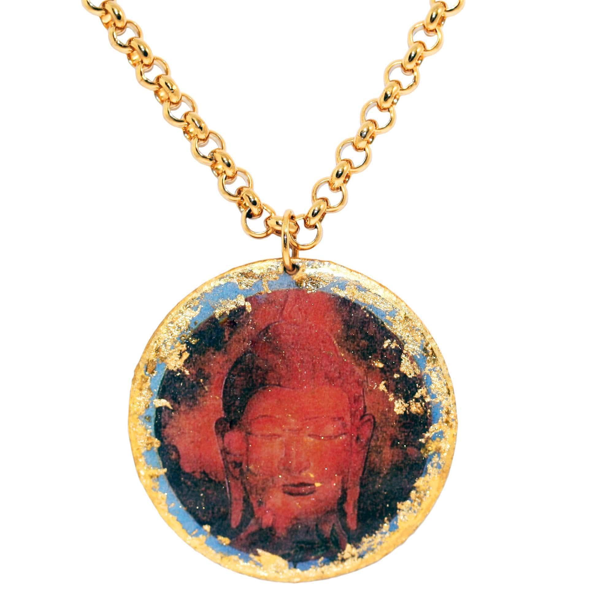 "Buddha Blue 17"" Gold Pendant - SL205-Evocateur-Renee Taylor Gallery"